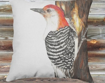 Red Bellied Wood Pecker Throw Pillow Cover