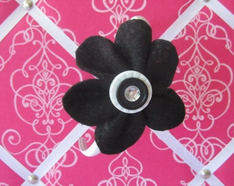 Black and White Felt Flower Head Band