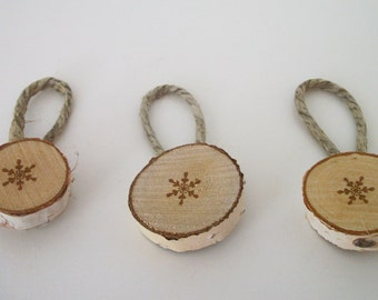 Rustic Snowflake Birch Ornaments, Set of 3, Rustic Christmas Ornaments, Rustic Gift Tags, Christmas Gifts, Holiday Decor