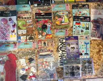 Lot 17 Pieces of Scrapbooking Embellishments