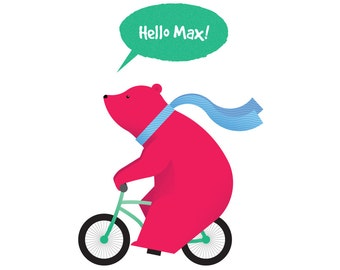 Bear on a bike - personalised print