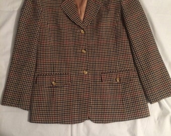 vtg Pendleton Knockabouts 100% virgin wool women's blazer jacket size 8