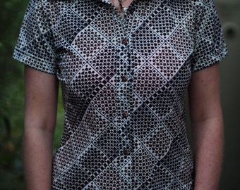 Funky patterned short sleeved blouse