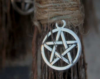 3'' to 4'' mini besom with pentacle charm