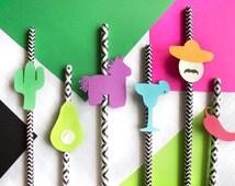 10 Fiesta Straws // Summer Party // Cactus Fiesta // Summer Luau Party Decor // Cinco de Mayo Fiesta // Fiesta Straw // Fiesta // Luau Decor