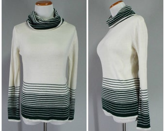 SALE! 50% OFF  Vintage Womens 1970s Center Stage Cream Cowl Neck Sweater with Green Horizontal Stripes   Size S/M