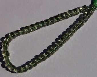 1/4 Strand 11 Pcs Natural Green Amethyst Faceted 3D Cubes Size 6-7 mm Approx Loose Gemstone Beads A19