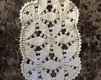 Vintage Crocheted Doily - 15 Inches Long