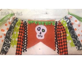 Halloween Skull Bunting Banner, Halloween Bunting, Halloween Banner, Halloween Decorations, Halloween Photo Prop, Halloween Party Decor