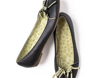 Black shoes, Black flats, Black leather shoes, Women's Shoes, Ballet flats,  Black ballerinas, Handmade leather flats by LoulouBallerina