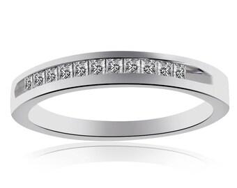 14K White Gold Princess Cut Diamond Wedding Band (.30ctw)