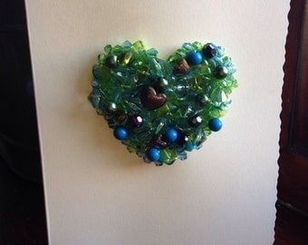 Green and Blue Valentines Day Card