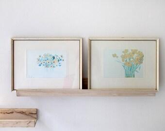 Art Set, Paul Gell Flowers in Vases, British Watercolor Print Painting