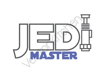 Jedi Master Lightsaber Cutting Template SVG EPS Silhouette DIY Cricut Vector Instant Download