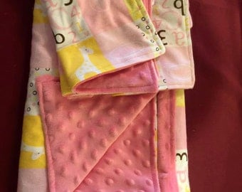 Minky Blankets and Burp Clothes- Lil Cutie