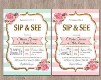 Sip and See invitation girl, sip & see invitation, meet the baby invitation, sip n see invitations, sip and see invite, pink, mint, gold