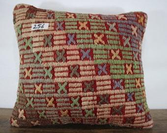 16x18 Kilim Pillow 16x18 Kilim Cushion Cover,Zigzag Pillow,Embroidery Kilim Pillow Throw Pillow Vintage Kilim Cushion Cover  SP4040-256