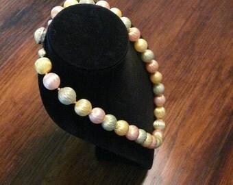 """Unique Vintage Pastel Button Clasp Necklace Signed """"Japan"""""""