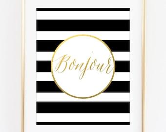 Bonjour Printable Art Print, Bonjour Print, Paris Printable, Paris Print, French Printable, French Decor, Paris Decor, Gold Wall Art Print