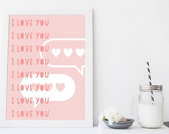 I love you, I love you, I love you Printable Design for Valentines Day