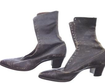 Vintage Ladies 1920's Brown Leather Boots M.R. Bauer, Chicago, worn, Steampunk Edwardian