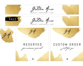 Etsy Shop Premade Banner Set - Luxury Theme Banner Set - White and Gold Etsy Banner Set - Jewelry Shop Banner Set - Lingerie Shop Banner Set