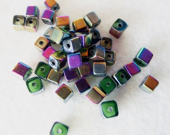 40 Small Iridescent Multicolor Glass Beads 4mm x 4mm