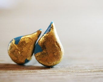 Mermaid tears stud earrings  polymer clay with gold and silver leaf