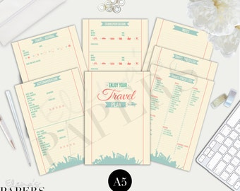 TRAVEL PLAN insert for your A5 and Franklin Planner_ Italian and English version_ _Trip Journal_Vacation Planner_Travel Checklist_Filofax