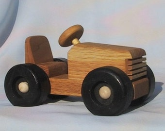 Handmade Wood Push Toy - SOAP BOX RACER- Oak with Pure Linseed Oil Rubbed Finish