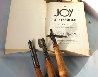 The JOY of COOKING - VINTAGE 1950's Cook Book and 3 Vintage Kitchen Tools