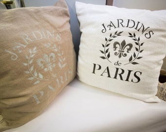 Hand Decorated Linen Pillows, Embellished with Parisian Stencils