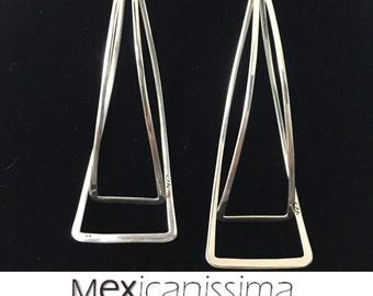 Beautiful Sterling Silver Triangle Earrings