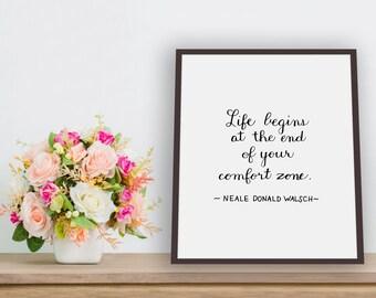 Comfort Zone Printable Art, Wall Art, Home Decor, Instant Download, Digital Download, Inspirational Quote, Motivational Quote, Digital Print