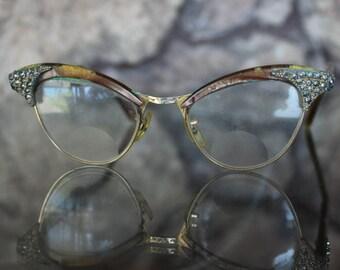 1950s Rhinestone Vintage Cat Eye glasses