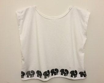 Elephant Bordered Cropped Blouse