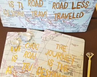 Hand bound notebooks- World map with Gold Leaf finish