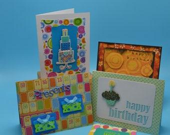 Birthday card set (5), Happy Birthday cards, Presents, Make a Wish, Handcrafted Birthday card set (5)