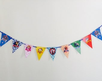 Paw Patrol Party Bunting Banner. Party Supplies Hanging Decorations