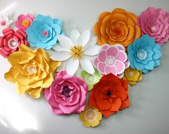 DIY Summer paper flower backdrop / Paper Flower Backdrop / Giant Paper Flowers Wall / Paper Flower Wall /Large paper flowers /