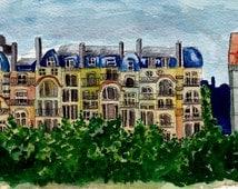 """Original - Watercolour painting A5  - """"Parisian doodle"""""""