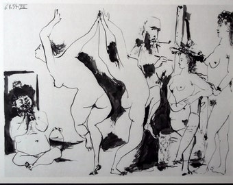 PICASSO Engraving Dated 1954 w/COA. UNIQUE Gift of Rare Art, Pablo Picasso Rare Art Print. Something Erotic and Exclusive. Free Shipping