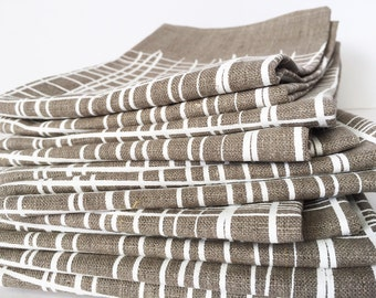 Crosshatch linen tea towel, white ink on flax linen screen printed by hand, tribal basketweave design