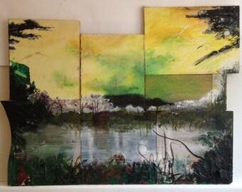 Original Painting, Landscape painting, Chipboard- Royden Park Landscape