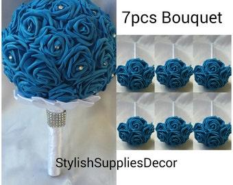 Customize 7pcs Navy Blue Bridal Bouquet Navy Blue Bouquet Navy Blue Wedding Bouquet Navy Blue Brooch Bouquet Rhinestone Bouquet Bouquet set