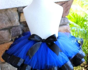 Royal Blue Tutu, Blue Ribbon Trimmed Tutu, Royal Blue and Black Ribbon Tutu, Blue and Black Tutu, Blue Ribbon Tutu, Black Ribbon Tutu