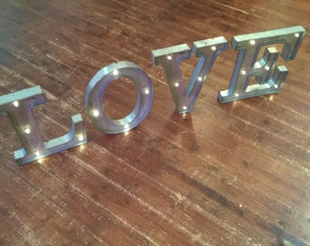 """Light Up Love, 16"""" tall, marquee letters, Love letters, Mr & Mrs Letters, Home Letters, Free Standing, Wall Mounted, Switch, LED"""