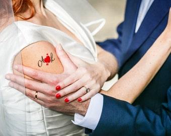 1 tattoo custom wedding: Initials & heart (gift of prompt, Tattoo, wedding, engagement, Valentine's day, badge...)