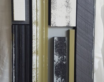 Black Greys and Green Reclaimed Wood Wall Art
