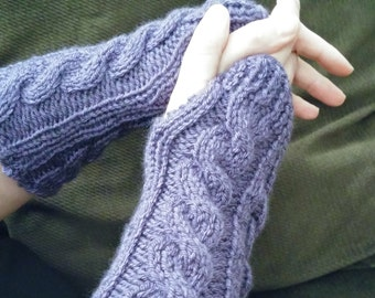 Purple Irish Hiking Cabled Wristlets - Arm Warmers